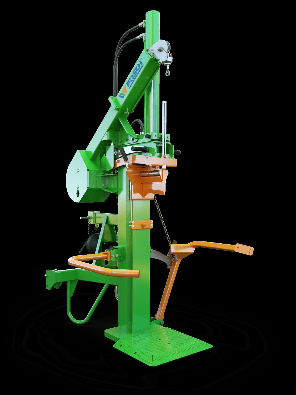 Holzspalter, Spaltmaschine elektrisch mit Zapfwellenantrieb. Stammheber und Seilwinde für einfachere Bedienung. Patentierte Spaltgutfixierung mit Fixomatic