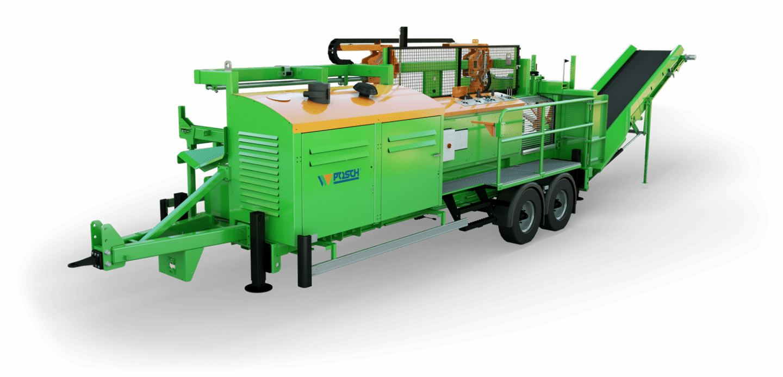 moderne Brennholzproduktion, Brennholzmaschine für dicke Holzstämme. Sägen und Spalten in einem Arbeitsgang