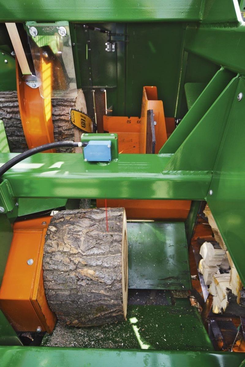 Sägespalter, Schneidspalter Brennholzautomat im Detail. der Kern der Maschine