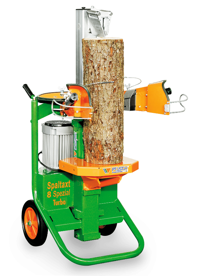 Fendeur de bois, fendeur de bois de un mètre possible, vertical Spaltaxt puissance de fendage 8 tonnes, moteur électrique, fendage de bois aisé avec pointe de retenue