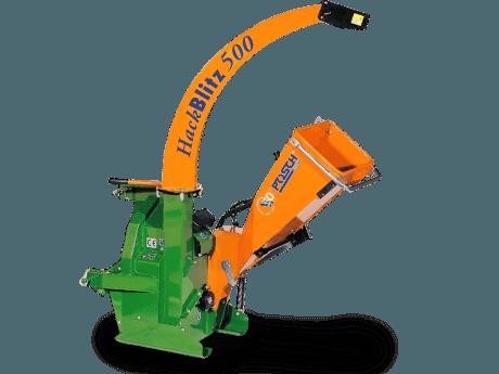 Holzhäcksler mit Antrieb über Schlepper für Holzdruchmesser bis 10 cm. Auswurfgebläse inkluxive.