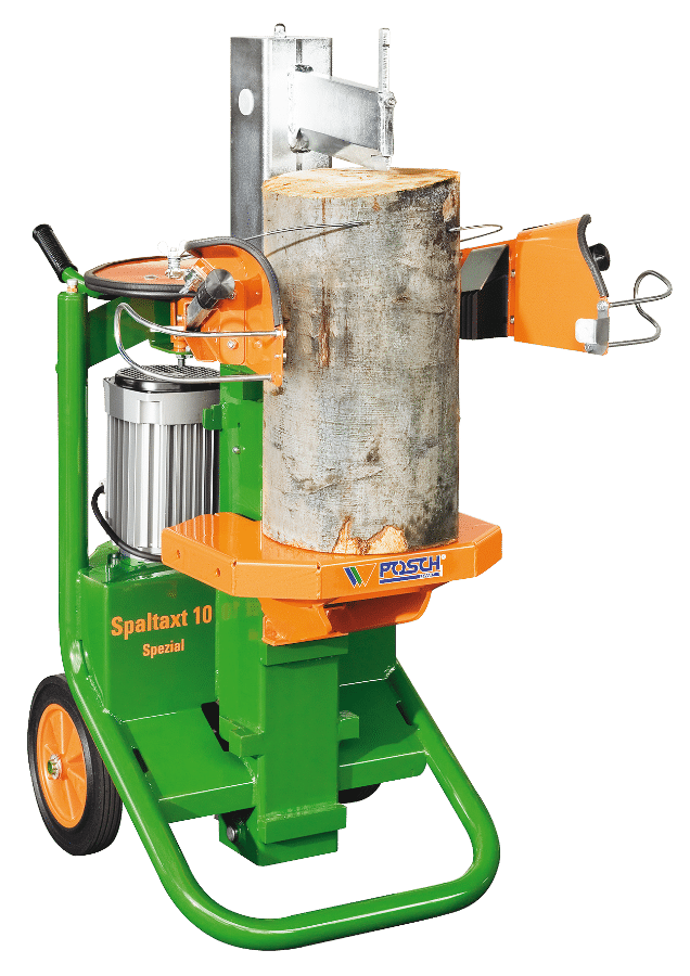Log Splitter short Log Splitter, cordwood possible, upright, Spaltaxt, splitting power 10 tons, E-motor, convenient wood splitting with timber retaining tip, mountable timber table for a log length of up to 100 cm