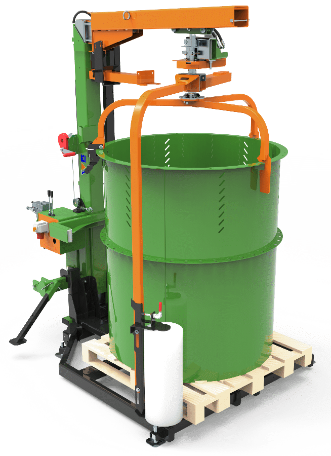 Posch packaging machine for firewood. Combined device: Stationary and mobile design
