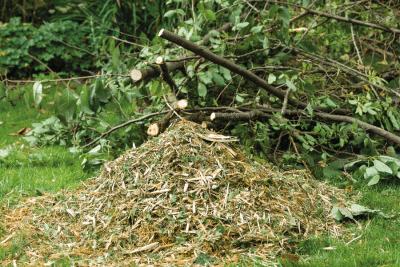 Häcksler Ausgangsmaterial und Endprodukt zur Kompostierung