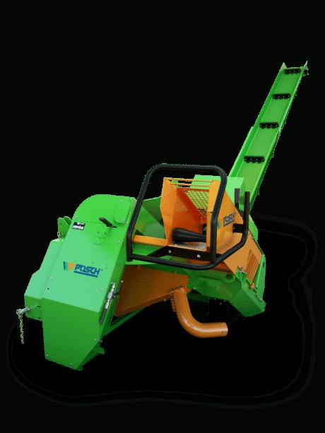 Brennholzsäge mit Förderband. Antrieb über Zapfwelle. Holzvorschub erfolgt mittels Schwerkraft.