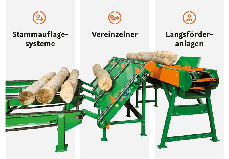 Stammzuführung für Brennholz