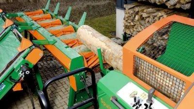 Walzenförderer Stammzuführung, Zuführtisch, Sägespaltautomat, Schneidspalter Brennholzautomat