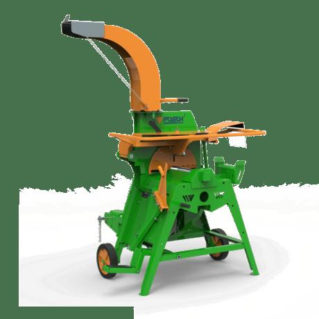 Maschine zum Spitzen und Schälen von Pfählen mit Auswurfgebläse. Antrieb über Zapfwelle
