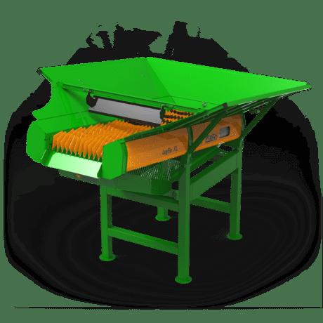 ScheitholzreinigungPosch - Scheithandling: Scheitholz-Reinigung durch rotierende Walzen und ansteigende Siebfläche, geräuscharm. Befülltrichter für große Holz-Mengen