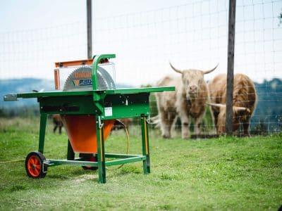 Tischkreissaege-Holzpfaehle-spitzen-trennen-Brennholz-Laengsschnitt-UniCut-POSCH-Leibnitz-Aktion-ohne Bediener-Rinder-StefanLeitner-78